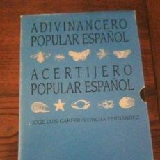 Libros de segunda mano: ADIVINANCERO Y ACERTIJERO POPULAR ESPAÑOL.JOSE LUIS GALFER/CONCHA FERNANDEZ.2 TOMOS.. Lote 127584915