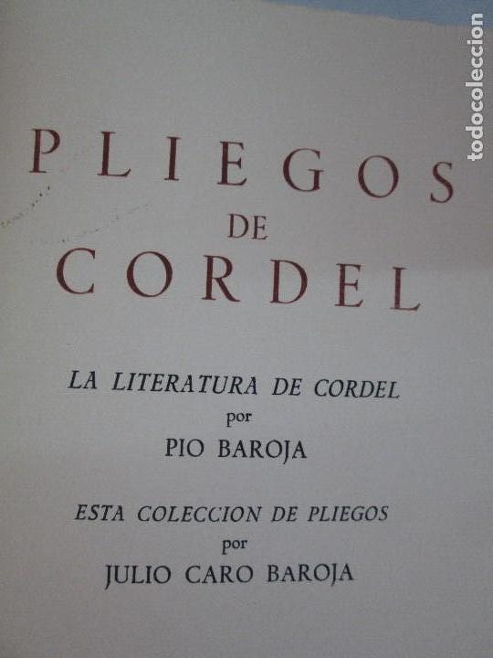 Libros de segunda mano: PLIEGOS DE CORDEL. PIO BAROJA. JULIO CARO BAROJA. EJEMPLAR NUM XI. BANCO IBERICO 1969. VER FOTOS - Foto 9 - 128575023