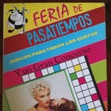 Libros de segunda mano: MADONNA FERIA DE PASATIEMPOS JUEGOS CRUCIGRAMAS BRIO EDITORIAL-ZAS AÑOS 80 NUEVO. Lote 129060623