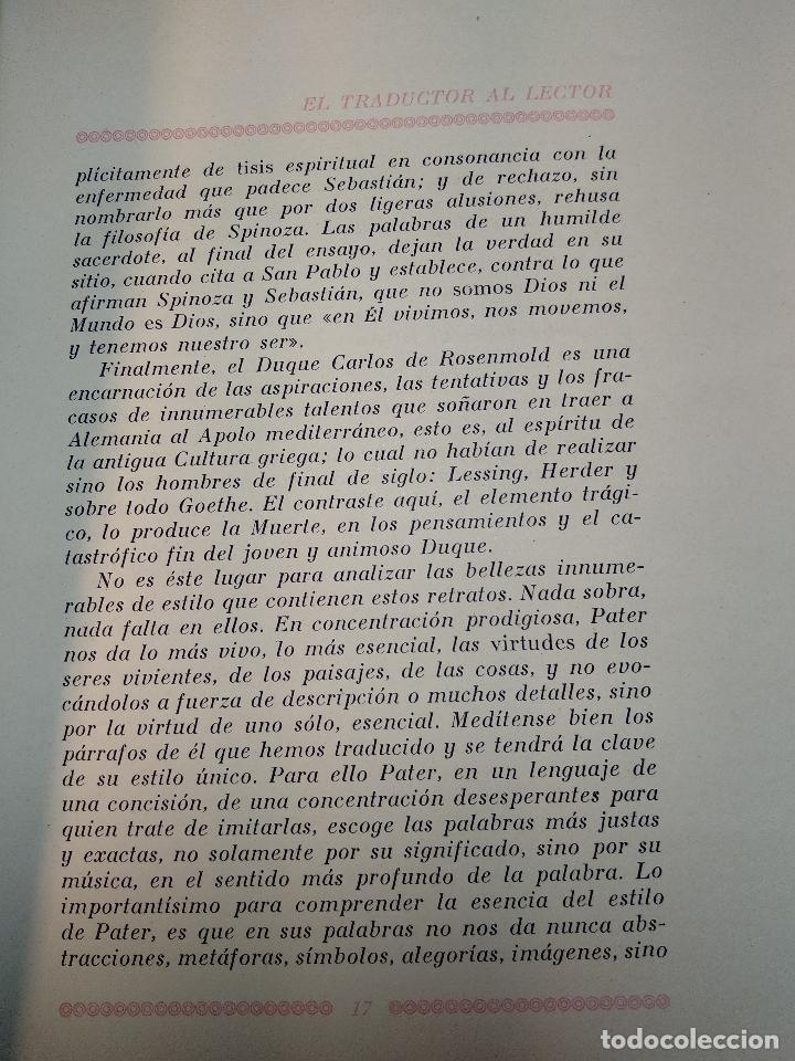 Libros de segunda mano: RETRATOS IMAGINARIOS - WALTER PATER - GRABADOS EN BOJ DE MANUEL BENET - EDIC. AYMA - BARCELONA -1942 - Foto 6 - 129255531