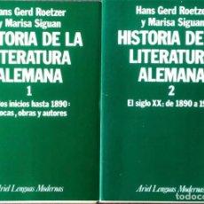 Libros de segunda mano: HISTORIA DE LA LITERATURA ALEMANA. (1-2). HANS GERD ROETZER./ MARISA SIGUAN.. Lote 129270107