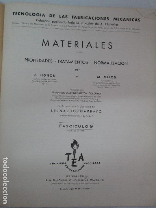 Libros de segunda mano: TECNOLOGIA DE LAS FABRICACIONES MECANICAS. A. CHEVALIER. EDICIONES TEA. FASCISCULO Nº 4-9-20. - Foto 8 - 129300063