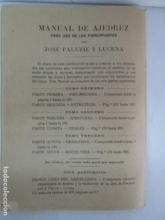 Libros de segunda mano: MANUAL DE AJEDREZ. JOSE PALUZIE Y LUCENA. PARTE TERCERA, QUINTA, SEXTA. 1939-1943. VER FOTOS - Foto 23 - 131478270