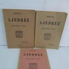 Libros de segunda mano: MANUAL DE AJEDREZ. JOSE PALUZIE Y LUCENA. PARTE TERCERA, QUINTA, SEXTA. 1939-1943. VER FOTOS. Lote 131478270