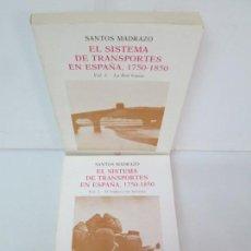 Libros de segunda mano: SANTOS MADRAZO. EL SISTEMA DE TRANSPORTES EN ESPAÑA, 1750-1850. VOL 1 Y 2. TURNER 1984. Lote 133068690