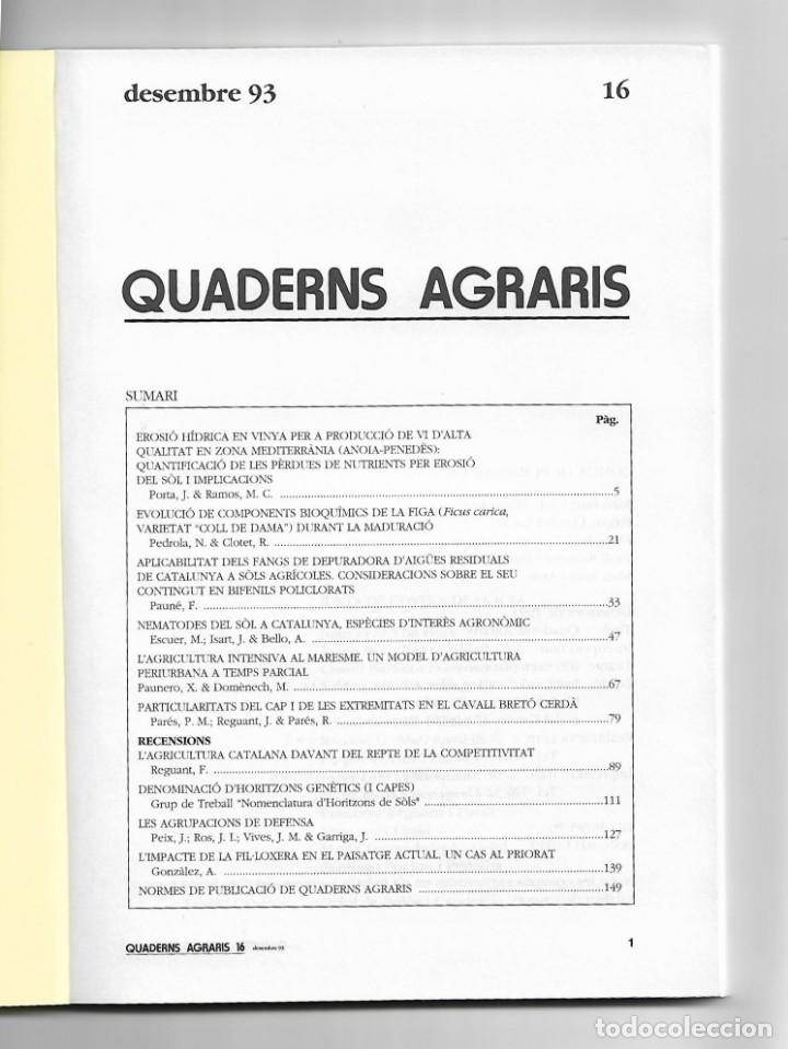 Libros de segunda mano: A188.- QUADERNS AGRARIS.- INSTITUCIÓ CATALANA DESTUDIS AGRARIS.- nª 16.- DESEMBRE 93 - Foto 2 - 133463226