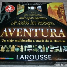 Libros de segunda mano: LAROUSSE AVENTURA UN VIAJE MULTIMEDIA A TRAVES DE LA HISTORIA 5 CD-ROMS PARA PC - 1999. Lote 134055786