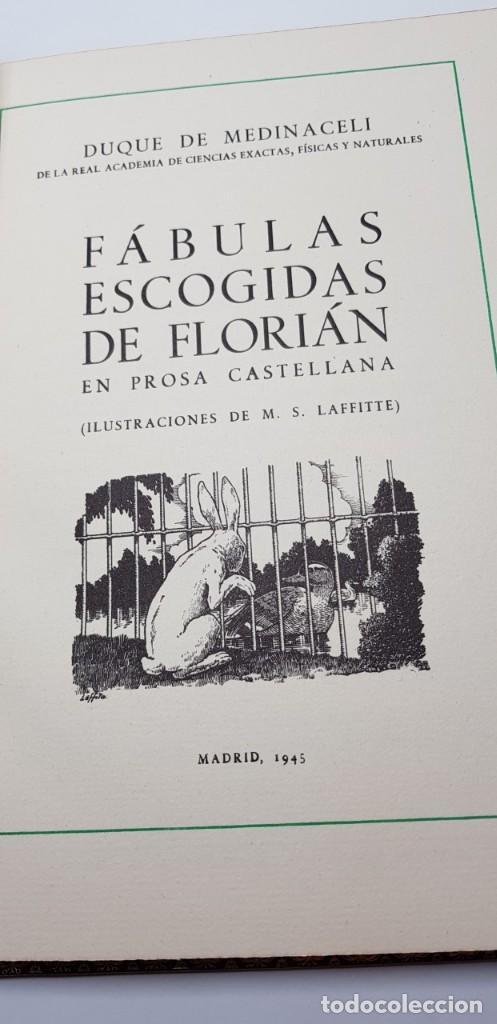 Libros de segunda mano: FABULAS ESCOGIDAS DE FLORIAN. 500 EJEMPLARES. BONITA ENCUADERNACIÓN. - Foto 3 - 135360482