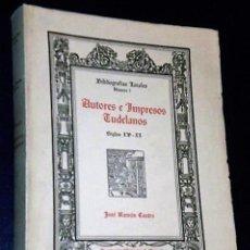 Libros de segunda mano: AUTORES E IMPRESOS TUDELANOS. SIGLOS XV - XX.. Lote 135614050