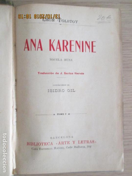 Libros de segunda mano: LEÓN TOLSTOY. ANA KARENINE. NOVELA RUSA. ISIDRO GIL. TOMO I. BARCELONA. - Foto 2 - 136207718