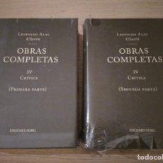 Libros de segunda mano: LEOPOLDO ALAS CLARÍN. OBRAS COMPLETAS IV CRÍTICA. PRIMERA Y SEGUNDA PARTE. NOBEL . Lote 136421894
