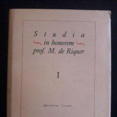 Libros de segunda mano: STUDIA IN HONOREM PROF. M. DE RIQUER I / EDI. QUADERNS CREMA / EDICIÓN 1986 . Lote 139650854
