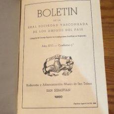 Libros de segunda mano: BOLETIN DE LA REAL SOCIEDAD VASCONGADA DE AMIGOS DEL PAIS-SS-TOMO14-1960(25€). Lote 139667882