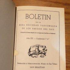 Libros de segunda mano: BOLETIN DE LA REAL SOCIEDAD VASCONGADA DE AMIGOS DEL PAIS-SS-TOMO18-1964(25€). Lote 139668082