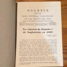 Libros de segunda mano: BOLETIN DE LA REAL SOCIEDAD VASCONGADA DE AMIGOS DEL PAIS-SS-TOMO20-1966(25€). Lote 139668158