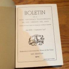Libros de segunda mano: BOLETIN DE LA REAL SOCIEDAD VASCONGADA DE AMIGOS DEL PAIS-SS-TOMO27-1974(25€). Lote 139668478