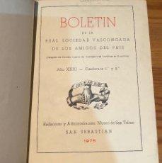 Libros de segunda mano: BOLETIN DE LA REAL SOCIEDAD VASCONGADA DE AMIGOS DEL PAIS-SS-TOMO28-1975(25€). Lote 139668510
