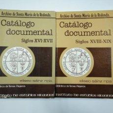 Libros de segunda mano: CATALOGO DOCUMENTAL. ARCHIVO SANTA MARIA DE LA REDONDA. LOGROÑO. 2 VOL. ELISEO SAINZ RIPA. TDK355. Lote 140379002