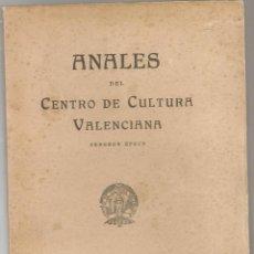 Libros de segunda mano: ANALES DEL CENTRO DE CULTURA VALENCIANA 2ª EPOCA, Nº 50 1952 RULL VILLAR, ALMELA Y VIVES,LUIS PARDO. Lote 141274914