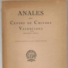 Libros de segunda mano: VALENCIA ANALES DEL CENTRO DE CULTURA VALENCIANA Nº 24, AÑO X 1949, MONTGÓ, TOPONIMIA SETABENSE,. Lote 141277006