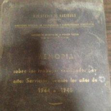 Libros de segunda mano: ANTIGUO LIBRO TOMO HACIENDA MEMORIA CATASTRO TRABAJOS REALIZADOS 1944 1945. Lote 142571802