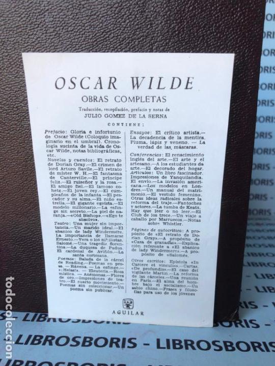 Libros de segunda mano: OSCAR WILDE - OBRAS COMPLETAS - AGUILAR - OBRAS ETERNAS. - Foto 3 - 142920442