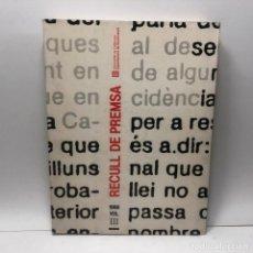 Libros de segunda mano: LIBRO RECULL DE PREMSA DEPARTAMENT GOVERNACIÓ GENERALITAT 1986 VOL. III / N-7446. Lote 143958786