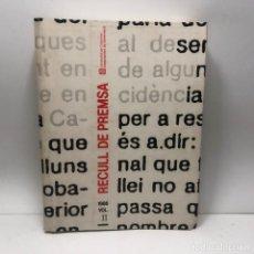 Libros de segunda mano: LIBRO RECULL DE PREMSA DEPARTAMENT GOVERNACIÓ GENERALITAT 1986 VOL. II / N-7447. Lote 143958818