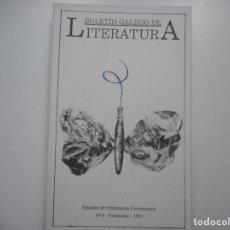 Libros de segunda mano: VV.AA BOLETÍN GALEGO DE LITERATURA.Nº6 NOVEMBRO 1991 Y91491. Lote 144096738