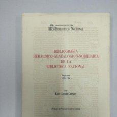 Libros de segunda mano: BIBLIOGRAFÍA HERÁLDICO-GENEALÓGICO-NOBILIARIA DE LA BIBLIOTECA NACIONAL (IMPRESOS 1959-1994) -. Lote 144161146