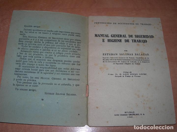 Libros de segunda mano: MANUAL GENERAL DE SEGURIDAD E HIGIENE DE TRABAJO - 1ª EDICIÓN AÑO 1948 - GRÁFICAS GRIJELMO BILBAO - Foto 2 - 145040670