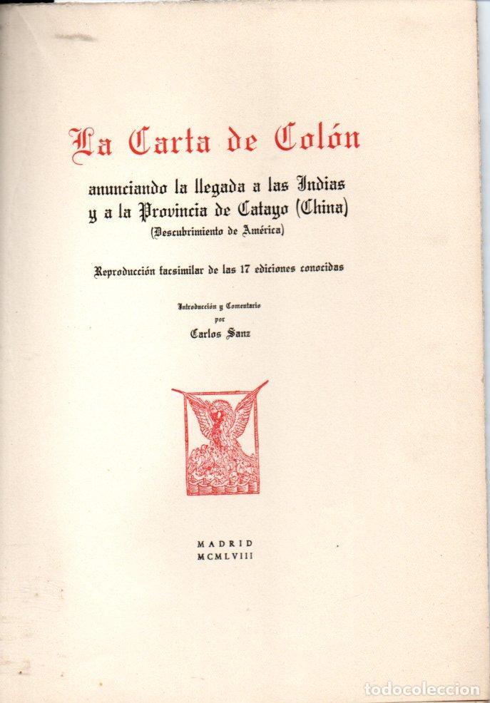 UNIDAD GEOGRÁFICA DESCUBRIMIENTO DE AMÉRICA - 17 FACSÍMILES DE LAS CARTAS DE COLÓN (Libros de Segunda Mano - Historia - Otros)