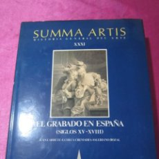 Libros de segunda mano: EL GRABADO EN ESPAÑA (SIGLOS XV-XVIII) - SUMMA ARTIS VOL. XXXI- ESPASA CALPE. Lote 145527250