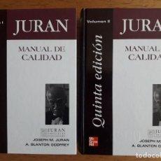 Libros de segunda mano: MANUAL DE CALIDAD VOLÚMEN I Y II / JOSEPH M. JURAN Y A. BLANTON GODFREY / EDI. MCGRAWHILL / 5ª ED.. Lote 146202294