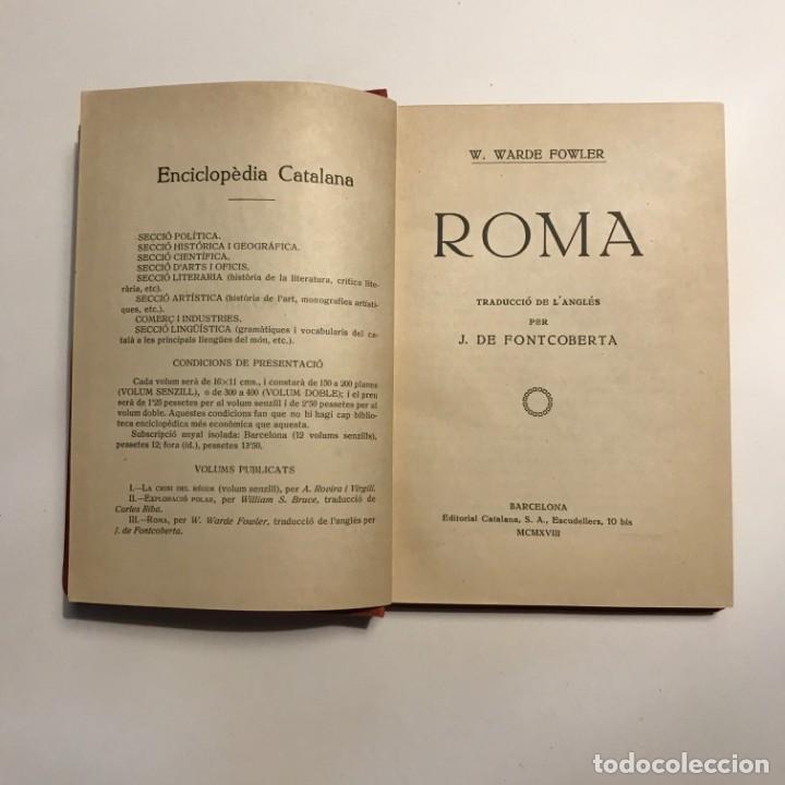 Libros de segunda mano: WARDE FOWLER : ROMA (ENCICLOPÈDIA CATALANA, 1918) - Foto 2 - 146943962