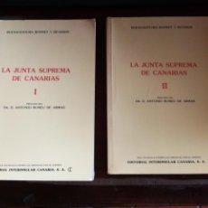 Libros de segunda mano: LA JUNTA SUPREMA DE CANARIAS, BUENAVENTURA BONNET, DR. D. ANTONIO RUMEU DE ARMAS. 1980, TOMO I Y II.. Lote 147309549
