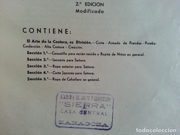 Libros de segunda mano: CORTE Y COSTURA, MÉTODO MODERNO, ACADEMIA DE CONFECCIÓN SIERRA (ZARAGOZA) - SASTRERÍA, MODISTERÍA - Foto 4 - 147396614