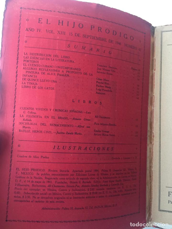 Libros de segunda mano: EL HIJO PRÓDIGO REVISTA LITERARIA - MÉXICO VOL . XIII NUM. 42 , AÑO 1946 - Foto 2 - 147406466