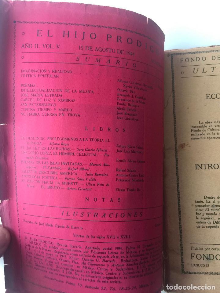 Libros de segunda mano: EL HIJO PRÓDIGO REVISTA LITERARIA - MÉXICO - VOL . V NUM. 17 , AÑO 1944 - Foto 2 - 147407322