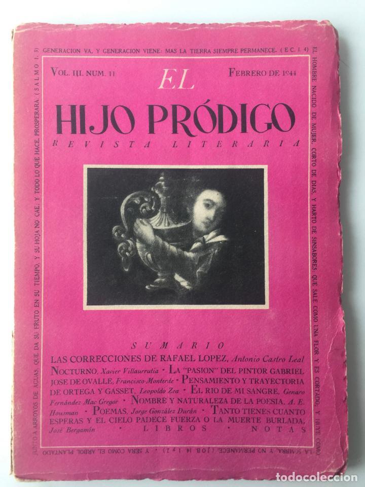 EL HIJO PRÓDIGO REVISTA LITERARIA - MÉXICO - VOL . III NUM. 11 , AÑO 1944 (Libros de Segunda Mano - Pensamiento - Otros)