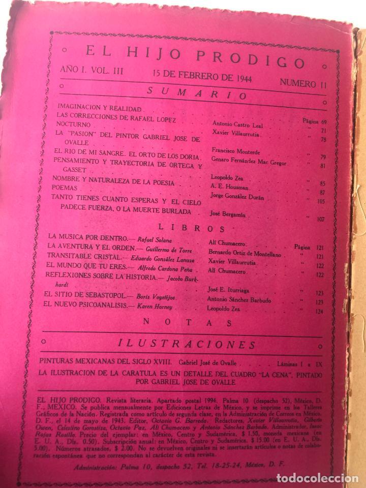 Libros de segunda mano: EL HIJO PRÓDIGO REVISTA LITERARIA - MÉXICO - VOL . III NUM. 11 , AÑO 1944 - Foto 2 - 147407650