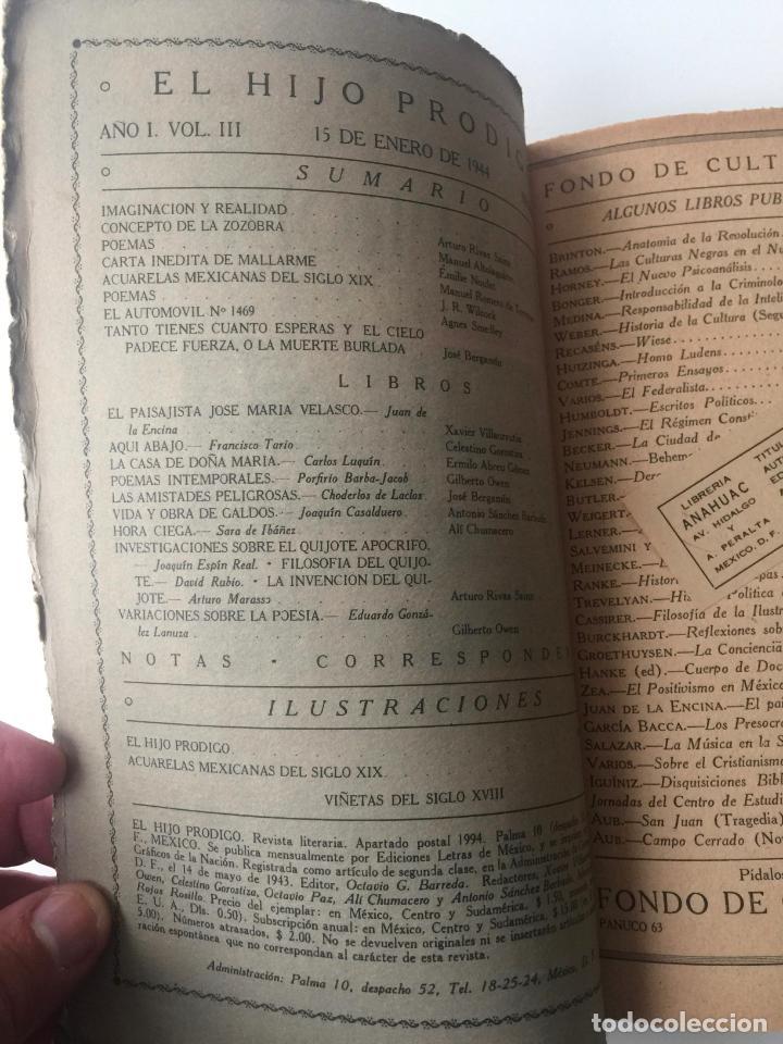 Libros de segunda mano: EL HIJO PRÓDIGO REVISTA LITERARIA - MÉXICO - VOL . III NUM. 10 , AÑO 1944 - Foto 2 - 147407714