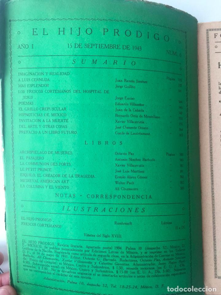 Libros de segunda mano: EL HIJO PRÓDIGO REVISTA LITERARIA - MÉXICO - VOL . I NUM. 6 , AÑO 1943 - Foto 2 - 147408042