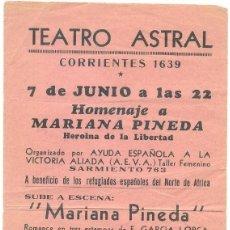 Livros em segunda mão: GARCIA LORCA, FEDERICO. PROGRAMA ORIGINAL - TEATRO ASTRAL. RAFAEL ALBERTI.. Lote 147410418