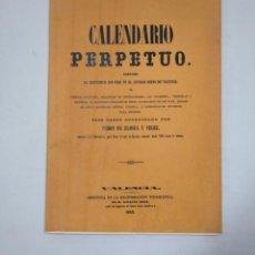 Libros de segunda mano: CALENDARIO PERPETUO. SANCTORUM DEL ANTIGUO REINO DE VALENCIA. PEDRO DE ELOSUA Y VELEZ 1859. TDK359. Lote 147463982