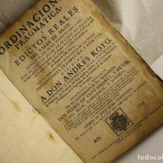 Libros de segunda mano: LIBRO ORDENACION PRAGMATICA 1752. Lote 147781130