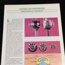 Libros de segunda mano: CONOZCA LOS COMPONENTES,RESISTENCIAS VARIABLES.. Lote 148578133