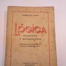 Libros de segunda mano: LÓGICA DIALÉCTICA Y METODOLOGÍA - MANUEL PLA Y SALAT - 1942. Lote 148680726
