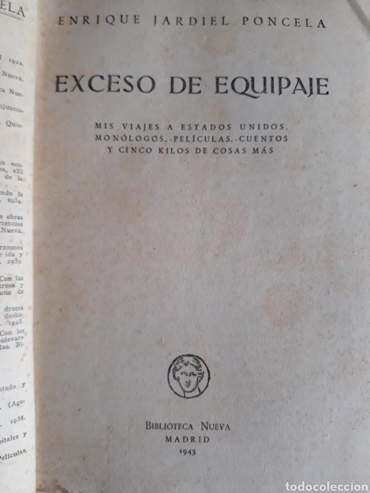Libros de segunda mano: EXCESO DE EQUIPAJE ENRIQUE JARDIEL PONCELA 1943 - Foto 2 - 148799932