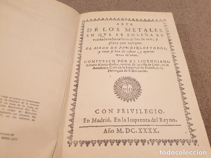 Libros de segunda mano: ARTE DE LOS METALES... FACSIMIL DEL LIBRO ORIGINAL DE 1540.........1977... - Foto 5 - 150950914